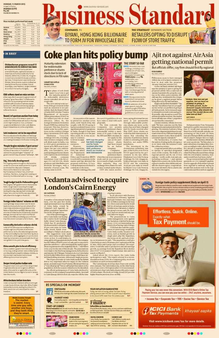 Business Standard English Newspaper Advertising