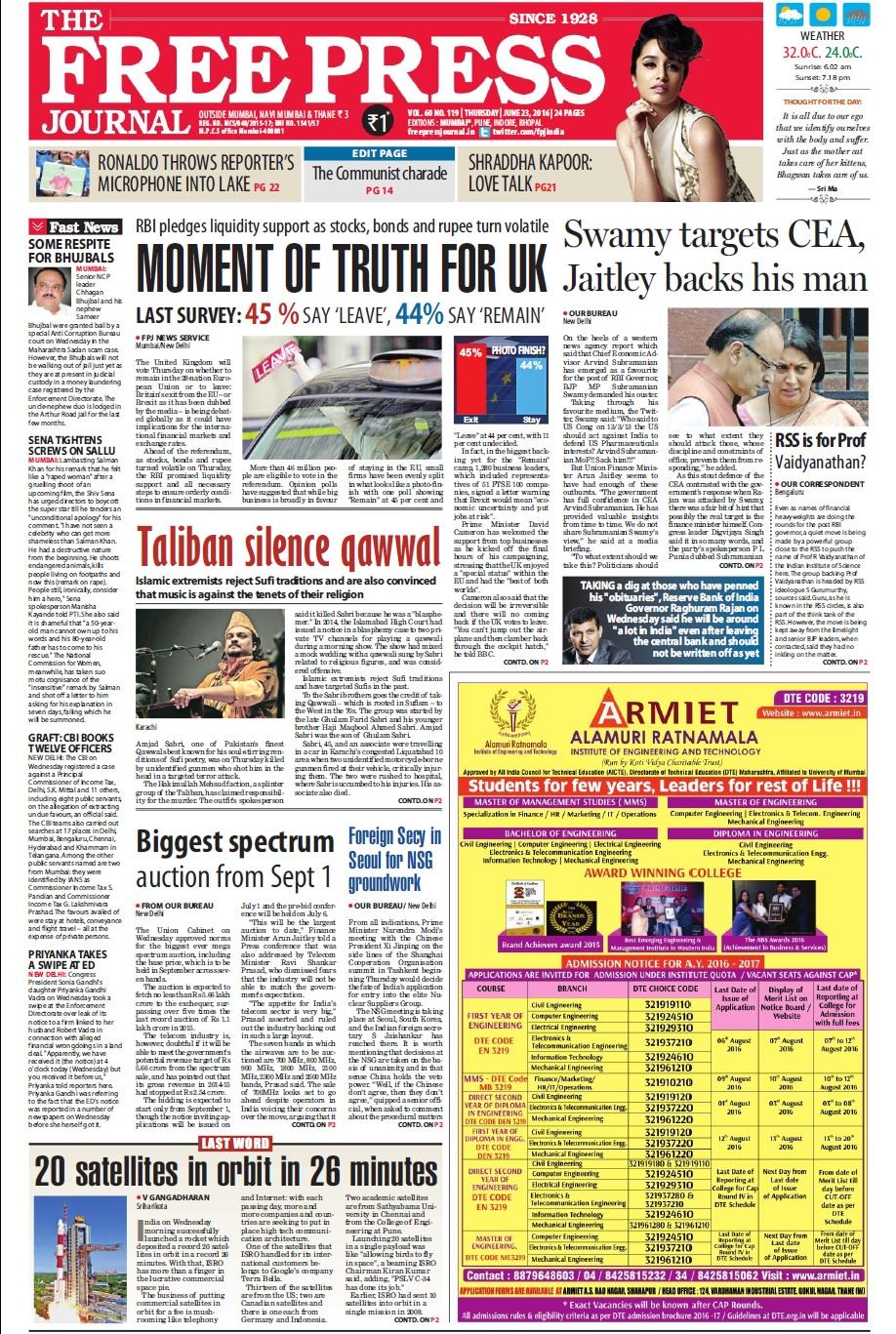 The Free Press Journal Newspaper Advertising